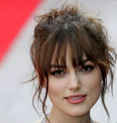 Beautiful Bangs Hairstyle Ideas That Suitable With Your Face Shape 21 Short Hair Updo, Bangs Updo, Short Hair Styles Easy, Short Hair With Bangs, Hairstyles With Bangs, Medium Hair Styles, Easy Hairstyles, Hairstyle Ideas, Hair Ideas