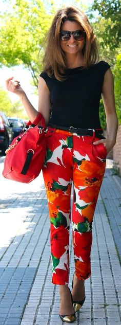 Zara Red colorblock Floral Printed Skinny Pants by Oh my Looks #fashion #street-style #accessories