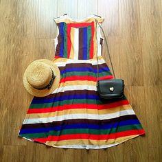 Rainbow Stripe High Waist Dress