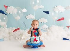 Airplane first birthday cake smash. Red, white, and blue. Clouds and airplanes cake. Birthday Cake Smash, First Birthday Cakes, 2nd Birthday, Birthday Ideas, Gun Cakes, Cake Smash Pictures, Cakes For Boys, 1st Birthdays, Photographing Babies