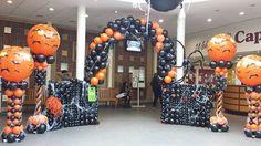 Awesome Balloon Halloween Entrance, Balloon Columns, Balloon Arch, Balloon Panels