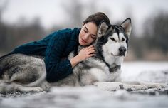 Girl lies and hugs dog Alaskan Malamute - Girl in sweater hugs a dog Alaskan Malamute. She lies on dog's back. Her eyes closed. Beautiful Wolves, Beautiful Dogs, People Photography, Animal Photography, Portrait Photography, Corgi Husky, Foto Fantasy, Animals Information, Korean Girl Photo