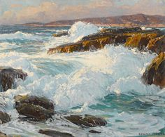 High Surf Along The Laguna Coast By Edgar Payne . Truly Art Offers Giclee Unframed Prints on Paper, Canvas Art, and Framed Art in all our Collections. We Ship Worldwide using UPS Shipping Service. Seascape Paintings, Landscape Paintings, Landscapes, Painting Trees, Italy Painting, Ocean Art, Ocean Waves, Missouri, Edgar Payne