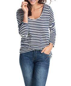 edc by ESPRIT Damen Langarmshirt Striped, Gestreift, Gr. 38, Mehrfarbig  (BLUE