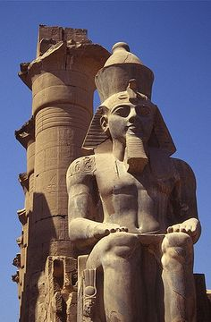 Ancient Egypt: Statue of Ramses II at the entrance to the Luxor Temple in Egypt. Ancient Egypt History, Ancient Egyptian Art, Egyptian Mythology, Egyptian Goddess, Egyptian Symbols, Ancient Aliens, Ancient Greece, Luxor Temple, Luxor Egypt