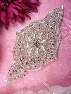 Silver Beaded Pearl Rhinestone Applique Motif    Measures: 5.5 x 3    All Measurements are Approximate