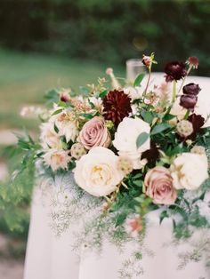 Burgundy and blush wedding. Does anyone have any pictures for inspiration or ideas? Burgundy is a deep, rich color that lends itself perfectly for a fall or winter wedding themes. Burgundy And Blush Wedding, Dusty Rose Wedding, Burgundy Flowers, Floral Wedding, Wedding Flowers, Blush Fall Wedding, Wedding Orange, Maroon Wedding, Wedding Colours