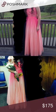 Coral ombre prom dress Amazing dress, worn only once, I had a tailor put straps on but it's originally strapless, smoke free home, make an offer :) Deb Dresses Prom