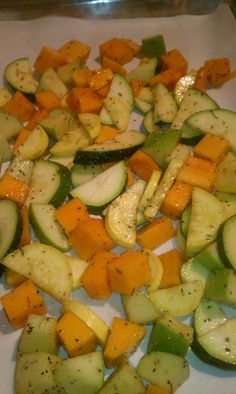 Roasted squash and apple:  Dice and chop butternut, zuchini and crook neck squash and one tart apple.  Put in bowl, drizzle a couple Tblsp olive oil around the sides.  Sprinkle, salt, pepper, thyme, rosemary, garlic salt and few splashes of worchestershire sauce on.  Toss till coated.  Toss onto parchment paper on a cookie sheet and spread out evenly.  Roast 450 degrees for 20 mins, turn veggie mix over, reduce heat to 350 and cook another 10 (can add parm cheese here)...Delish!
