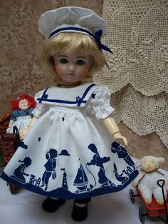 """9"""" Loulotte Sailor Dress and Hat Bleuette Friend"""