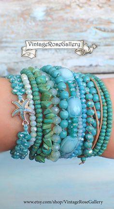 Aqua Boho Chic Bracelet, #VintageRoseGallery #etsy Sea Glass Multi Strand Bracelet, Summer Aqua Blue Bracelet by VintageRoseGallery