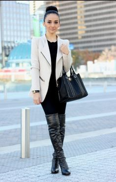 47d8568cf73801 Leather thigh high outfits Over The Knee Boot Outfit