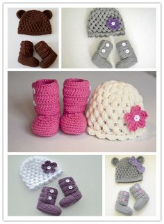 Pas cher 2015 new! Handmade Crochet mignon chapeau nouveau né et bottes… Chapeau  Bébé 66c2b337c09