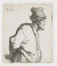 Rembrandt Harmensz. van Rijn | Staande boer met de handen op de rug, Rembrandt Harmensz. van Rijn, 1631 |
