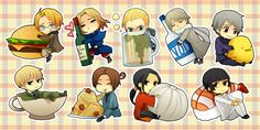 CHIBIS: Hetalia by shiftly.deviantart.com America France Germany Russia Prussia England Italy China Japan