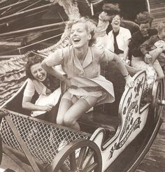 "Tomorrow, August celebrates that classic amusement park thriller, the roller coaster. To honor National Roller Coaster Day, we're looking back with 10 chic vintage photos, from the early ""Montagnes Russes"" (Russian Mountains) to Grace Kelly's Coney Is Mode Vintage, Vintage Vogue, Vintage Versace, Vintage Dior, Vintage Hollywood, Vintage Black, Vintage Pictures, Old Pictures, Old Photos"
