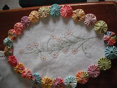 yoyos to frame punch needle or stitchery