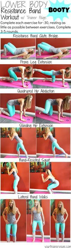 Lower Body: Resistan Lower Body: Resistance Band Booty Workout - best exercises to burn out to glutes with a resistance band (omit the band if you don't have one handy!)