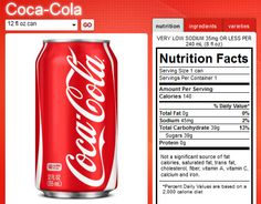 Nutrition Label on a can of Coca-Cola