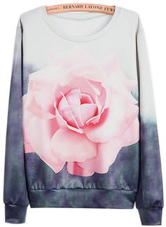 White Grey Long Sleeve Rose Print Sweatshirt - 16'10€, sheinside.com