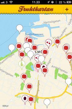 """""""Fruitmap-app"""" Fruktkartan. Share fruit trees in public spaces. Free."""