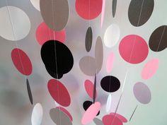 Paper Garland, Pink, Black, White, Birthday, Nursery, Bridal Shower, Party Decoration. $10.00, via Etsy.