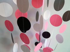 Paper Garland, Pink, Black, White, Birthday, Nursery, Bridal Shower, Party Decoration. $10.00, via Etsy.