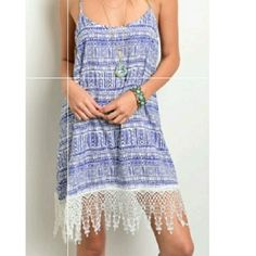 Ikat Sundress With Crochet Hem (Fringes)