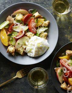 Tomato and Stone-Fruit Panzanella With Burrata