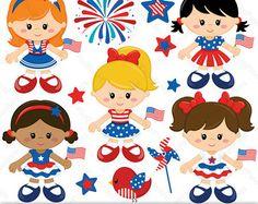 American Boys  4 de Julio  Set de Clip Art y por pixelpaperprints