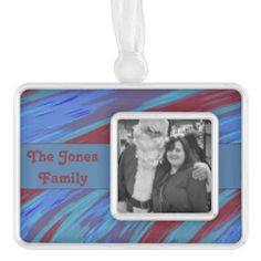Customized Blue Red Photo Christmas Ornament #zazzle #holiday #xmas #gifts
