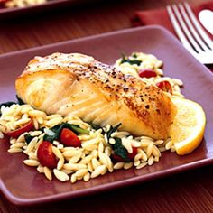 Baked Halibut with Orzo, Spinach, and Cherry Tomatoes; Really good. Very light. **MK
