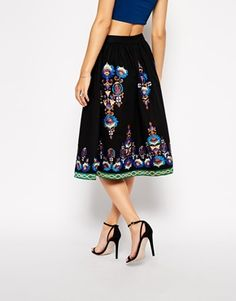 Enlarge ASOS Premium Midi Skirt With Embroidered Hem