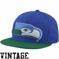 f8b6925fb Mitchell   Ness Seattle Seahawks Vintage Throwback XL Logo 2T Snapback Hat  - Royal Blue Green