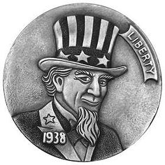 Uncle Sam Hobo Nickel carved by Steve Cox - photo from Hobo Nickels (scroll down in the section 'De Zwerver Dossier #31')
