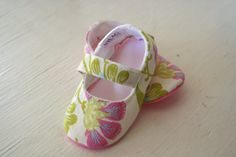 maryjane baby girl shoes toddler newborn velcro strap booties Amy Butler Green Pink Flower slippers SWAG shower gift