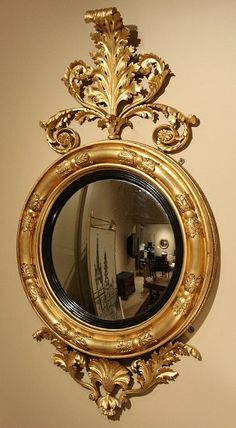 Late Regency giltwood and ebonised convex mirror. The circular plate with reeded ebonised slip and foliage clasp turned border. The frame is surmounted by an acanthus-scroll crest, and the apron centred by a shell and flanked by acanthus. Vintage Mirrors, Antique Frames, Old Frames, Vintage Frames, Convex Mirror, My Mirror, Floor Mirror, Mirror Photo Frames, Small Mirrors