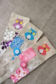 Bookmark owl linen screenprinted fabric pink white aqua by Plushka, $18.00