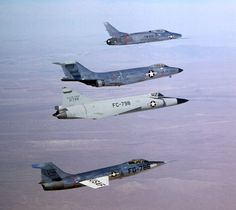 """Century series"" fighters: (top to bottom) F-100, F-101, F-02 and F-104"