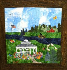 Another of Peggys creation, this is in downtown Dewitt Michigan !  DeWitt Memorial Park an original design by by northernskyquilts