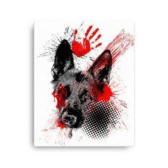 German Shepherd Trash Polka Tattoo Style Art Canvas