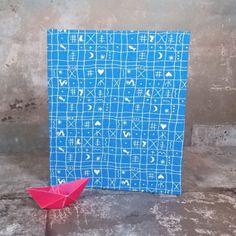 Kleines blaues Einsteckalbum Hähnchenmuster