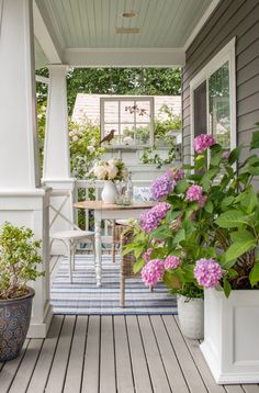 White Planter Boxes, White Planters, Porch Trim, Front Porch, Palladian Blue, Endless Summer Hydrangea, Porch Styles, Cottage Porch, Porch And Balcony
