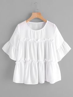 Shop Flounce Trim Bell Shoulder Tiered Blouse online. SheIn offers Flounce Trim Bell Shoulder Tiered Blouse & more to fit your fashionable needs.