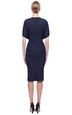 Zac posen Tweed Dress in Blue (Midnight Melange) | Lyst