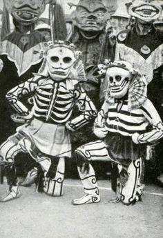 Tibetan masked dancers skeleton costumes M. Sain c1910 vintage historical print