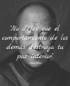 ... No dejes que el comportamiento de los demás destruya tu paz interior. Dalai Lama.
