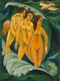 Ernst Ludwig Kirchner Three Bathers oil on canvas x cm Art Gallery of New South Wales, Sydney the painting's history until Galeria Ludwig Schames and. Ernst Ludwig Kirchner, Google Art Project, Art Dégénéré, Canvas Wall Art, Oil On Canvas, Framed Wall Art, Framed Prints, Degenerate Art, Canvas Art