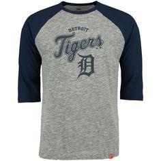 Detroit Tigers Majestic Fast Win Three-Quarter Sleeve Raglan T-Shirt - Gray/Navy - $26.99