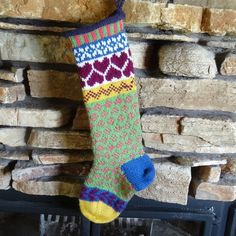 Hand Knit Christmas Stocking Plum Heart Motif by WarmedbytheHearth